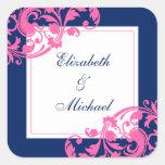 Navy Blue and Pink Flourish Swirls Wedding Stickers