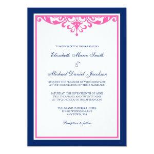 Navy Blue and Pink Flourish Wedding Invitations 5