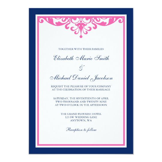 Pink And Navy Blue Wedding Invitations: Navy Blue And Pink Flourish Wedding Invitations