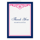 Navy Blue and Pink Flourish Wedding Thank You Cards
