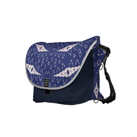 Navy Blue and Pink Mitochondria Mandala Messenger Bag