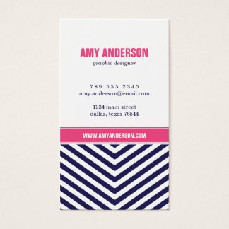 Navy Blue and Pink Modern Chevron Stripes Business Card