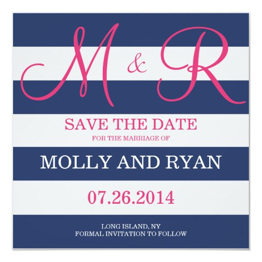 Navy Blue and Pink Monogram Save the Date Card