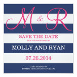 Navy Blue and Pink Monogram Save the Date Personalized Announcement