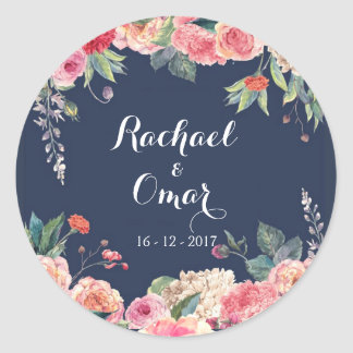 Navy Blue and pink peony Wedding Sticker