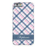 Navy Blue and PInk Plaid Pattern Barely There iPhone 6 Case