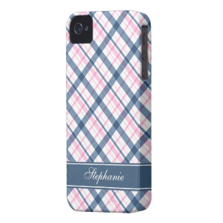 Navy Blue and PInk Plaid Pattern iPhone 4 Cases