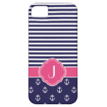Navy Blue and Pink Preppy Nautical Custom Monogram iPhone 5 Cover