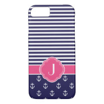 Navy Blue and Pink Preppy Nautical Custom Monogram iPhone 8/7 Case