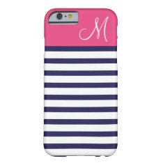 Navy Blue And Pink Preppy Stripes Custom Monogram Barely There Iphone 6 Case at Zazzle