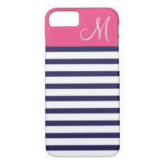 Navy Blue and Pink Preppy Stripes Custom Monogram iPhone 7 Case at Zazzle