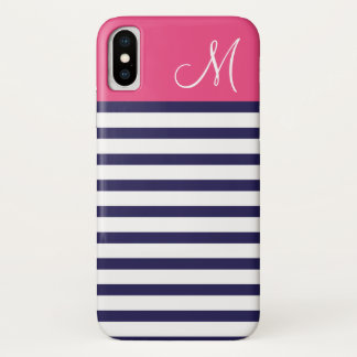 Navy Blue and Pink Preppy Stripes Custom Monogram iPhone X Case