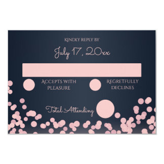Navy Blue and Pink Sparkle Wedding Response Card