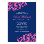 Navy Blue and Pink Swirl Flourish Bridal Shower 5x7 Paper Invitation Card