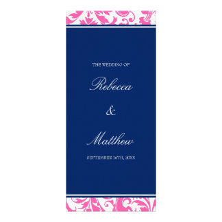 Navy Blue and Pink Swirls Damask Wedding Program