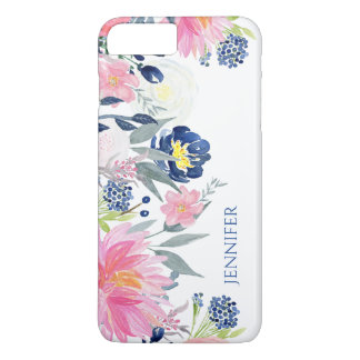 Navy Blue and Pink Watercolor Flowers iPhone 8 Plus/7 Plus Case