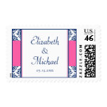 Navy Blue and Pink Wedding Stamp
