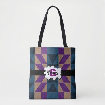 Aztec Themed Navy blue and purple vibrant monograms bag