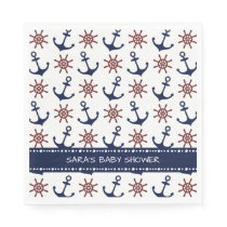 Navy Blue and red Anchor rudder pattern Nautical Napkin