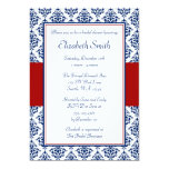 Navy Blue and Red Damask Bridal Shower Card