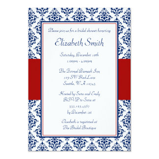 Navy Blue and Red Damask Bridal Shower 5x7 Paper Invitation Card