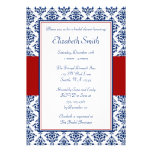 Navy Blue and Red Damask Bridal Shower Invitations