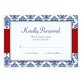 Navy Blue and Red Damask Response Card