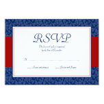Navy Blue and Red Damask Swirl Response Card Invitations