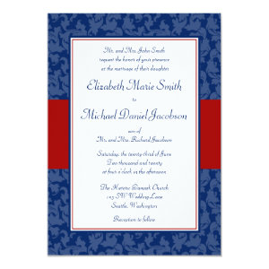 Navy Blue and Red Damask Swirl Wedding Invitations 5