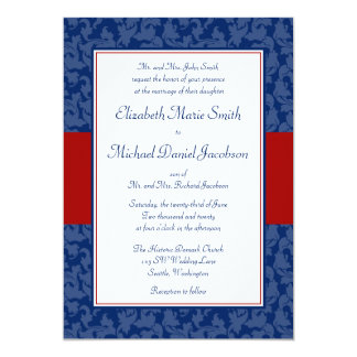 Navy Blue and Red Damask Swirl Wedding Invitations