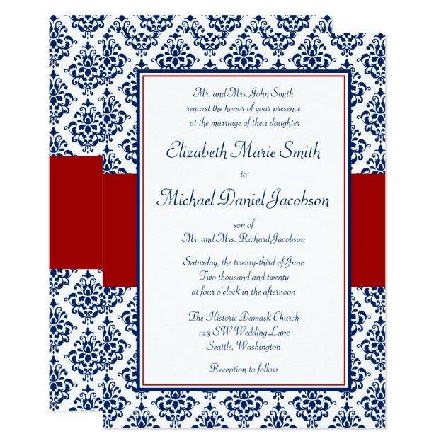 navy blue and red damask wedding invitations | zazzle, Wedding invitations