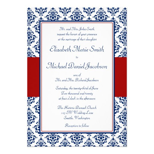 Navy Blue And Red Damask Wedding Invitations 5 X 7 Invitation Card