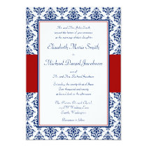 """Navy Blue and Red Damask Wedding Invitations 5"""" X 7"""" Invitation Card"""