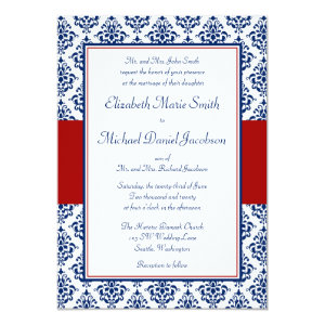 Navy Blue and Red Damask Wedding Invitations 5