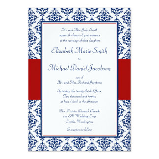 navy blue and red damask wedding invitations - Damask Wedding Invitations
