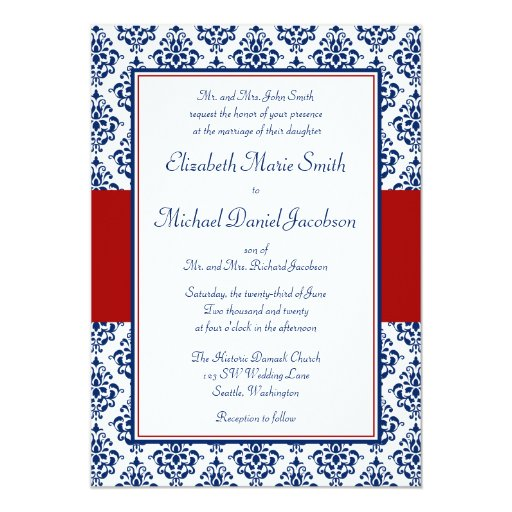 "Navy Blue and Red Damask Wedding Invitations 5"" X 7"" Invitation Card"