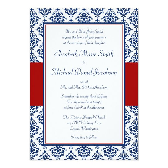 Navy Blue and Red Damask Wedding Invitations Zazzlecom