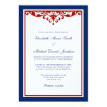 "Navy Blue and Red Flourish Wedding 5"" X 7"" Invitation Card"