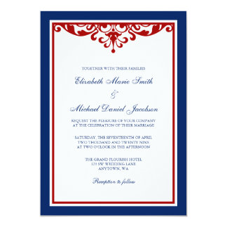 Navy Blue and Red Flourish Wedding 5x7 Paper Invitation Card