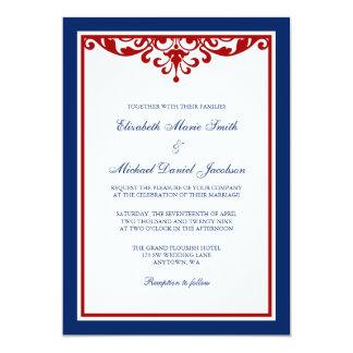 Navy Blue and Red Flourish Wedding 5x7 Paper Invitation Card