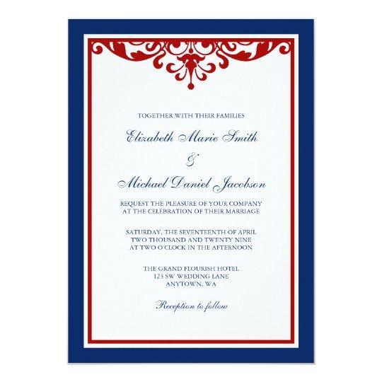 Navy Blue And Red Flourish Wedding Invitation