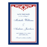 Navy Blue and Red Flourish Wedding Save the Date Custom Announcements
