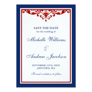 Navy Blue and Red Flourish Wedding Save the Date 5x7 Paper Invitation Card