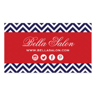 Navy Blue and Red Modern Chevron Stripes Double-Sided Standard Business Cards (Pack Of 100)