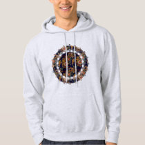 Navy Blue and Red Paisley Pattern Hoodie