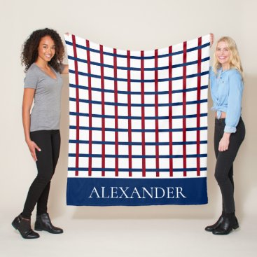 Beach Themed Navy Blue and Red Plaid on White Personalized Fleece Blanket