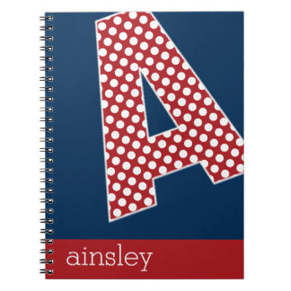 """Navy Blue and Red Polka Dots """"A"""" Monogram Notebook"""