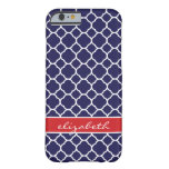 Navy Blue and Red Quatrefoil Custom Monogram Barely There iPhone 6 Case