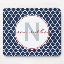 Navy Blue and Red Quatrefoil Monogram Mouse Pad