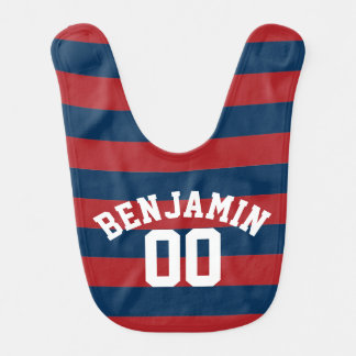 Navy Blue and Red Rugby Stripes Name Number Bib